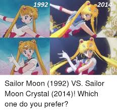 Sailor Moon Meme - 1992 2014 sailor moon 1992 vs sailor moon crystal 2014 which one