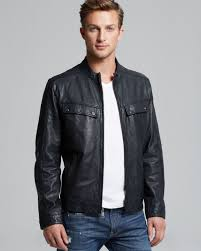 mens leather moto jacket marc new york leather moto jacket in blue for men lyst