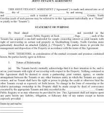 download north carolina joint tenant agreement form for free