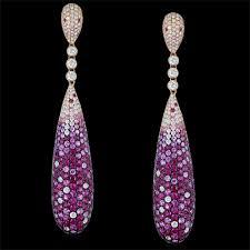 ruby drop earrings ruby earrings yellow gold pave