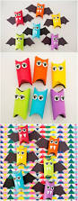 rainbow paper tube bats cute halloween craft for kids make these