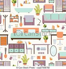 eps vectors of house furniture pattern seamless background home
