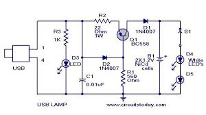 usb led lamp circuit using 5 volts