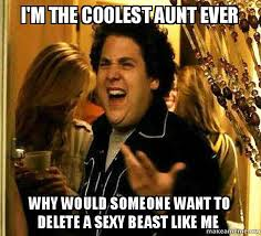 Sexy Beast Meme - i m the coolest aunt ever why would someone want to delete a sexy