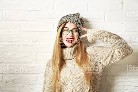 hipster girl funny hipster girl in winter clothes going crazy stock photo more