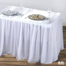 8 ft table skirt 8ft satin with 3 layer tulle wholesale wedding banquet event