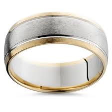 gold wedding band mens mens gold 8mm two tone comfort fit wedding band ring