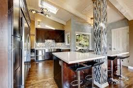 modern kitchen with vaulted ceiling dark brown cabinets steel
