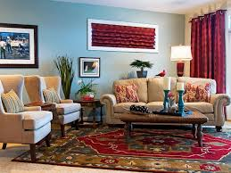 Casual Eclectic Family Room Sandy Kozar HGTV - Red and blue living room decor