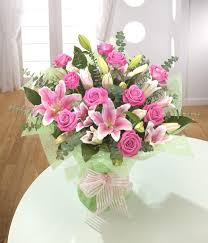 pink lilies pink classic lilies and roses buy online at woodside flowers in