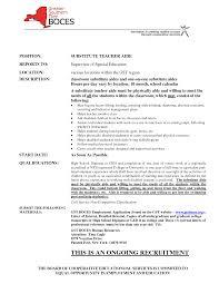 Substitute Teacher Cover Letter Samples 30 Printable Resume For Substitute Teacher Position Vntask Com