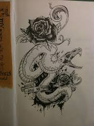 snake and roses tattoo design by mmpninja on deviantart