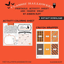 halloween design kit printable coloring activity crayon