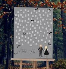 themed guest book wedding guest book alternative print with graveyard