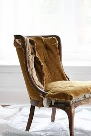 Reupholster Armchair Tutorial Reupholstering An Antique Chair She Holds Dearly