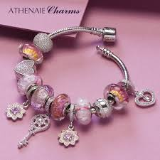 pink glass bead bracelet images Athenaie 925 silver charm bracelet with heart chamrs cherry jpg