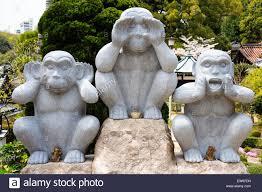 japan onomichi taisanji temple the three wise monkeys statues