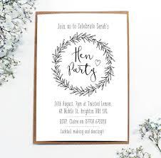 personalised u0027hen party u0027 wreath invitations by precious little