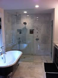 Marble Bathroom Ideas Curbless Carrara Marble Shower See Placement Of Shower Controls