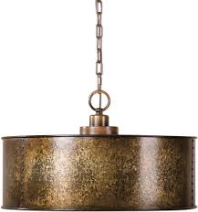 Drum Pendant Uttermost 22066 Wolcott Vintage Golden Galvanized Drum Hanging
