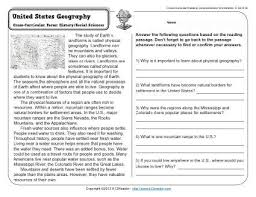 united states geography 3rd grade reading comprehension worksheet