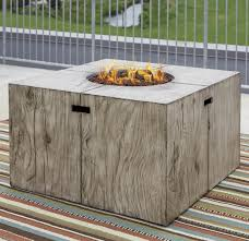 rustic style square fire pit table by signature design by ashley
