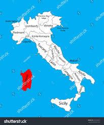 Sardinia Map Sardinia Italy Vector Map Illustration Isolated Stock Vector