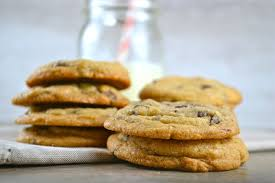 crispy chewy and soft chocolate chip cookies stuck on sweet