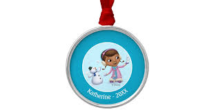 doc mcstuffins doc and chilly in snow metal ornament