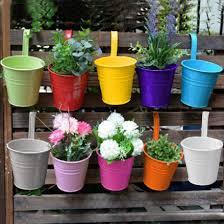 set 10 metal flower pot colour balcony garden wall fence hanging