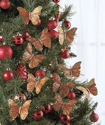 tree wreath butterfly clip ornaments in gold