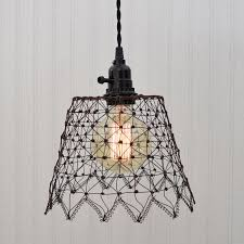 Wire Pendant Light Green Rust Wire Cage Pendant Light