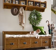 wade entryway bench with drawers small weathered pine finish