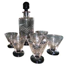 Unique Barware Unusual French Art Deco Etched Glass Decanter Cocktail Set From