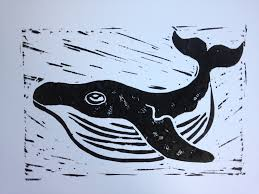 whale and caged bird lino block prints a pict in pa