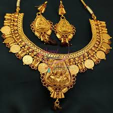 nl0773 indian traditional temple jewellery gold plated laxmi coin