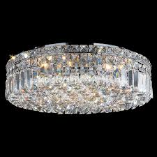 Crystal Flush Mount Ceiling Light Fixture by Cascade Collection 6 Light Chrome Finish And Clear Crystal Flush