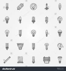 Led Versus Fluorescent Light Bulbs by Monochrome Bulb Icons Vector Collection Flat Stock Vector