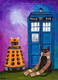 ryan conners u0027 cat folk art doctor who halloween cats