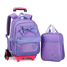 book bags with bows rolling backpack for 2pcs children trolley school bags with