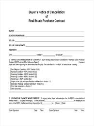 Free Real Estate Purchase Agreement Template by Notice Of Cancellation Form 8 Free Documents In Word Pdf