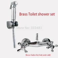 Handheld Bidet Sprayer Set For Toilets Aliexpress Com Buy Brass Handheld Toilet Shower Set For And