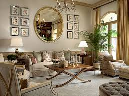 living room living room mirror wall with big round golden frame