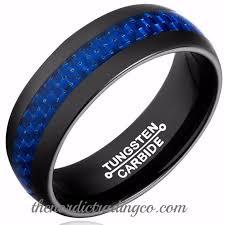 thin blue line wedding band blue lives matter in black tungsten carbide thin blue line carbon