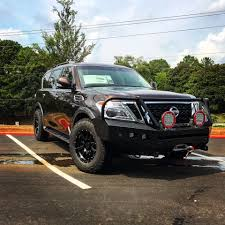 lifted nissan armada 2017 nissan armada wam bumper winch style with plate style grill guard