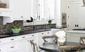 Backsplash With White Kitchen Cabinets Black Granite White Cabinet Glass Tile Idea Backsplash