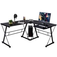 l shape black wood computer desk desks office furniture