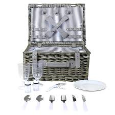 grey wicker picnic basket 2 or 4 person set charles bentley