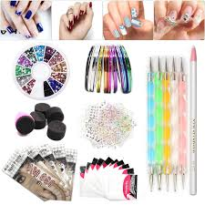 amazon com nail art set tape line nail stickers colored