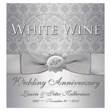 anniversary wine bottles 25th anniversary wine bottle label silver gray damask printed